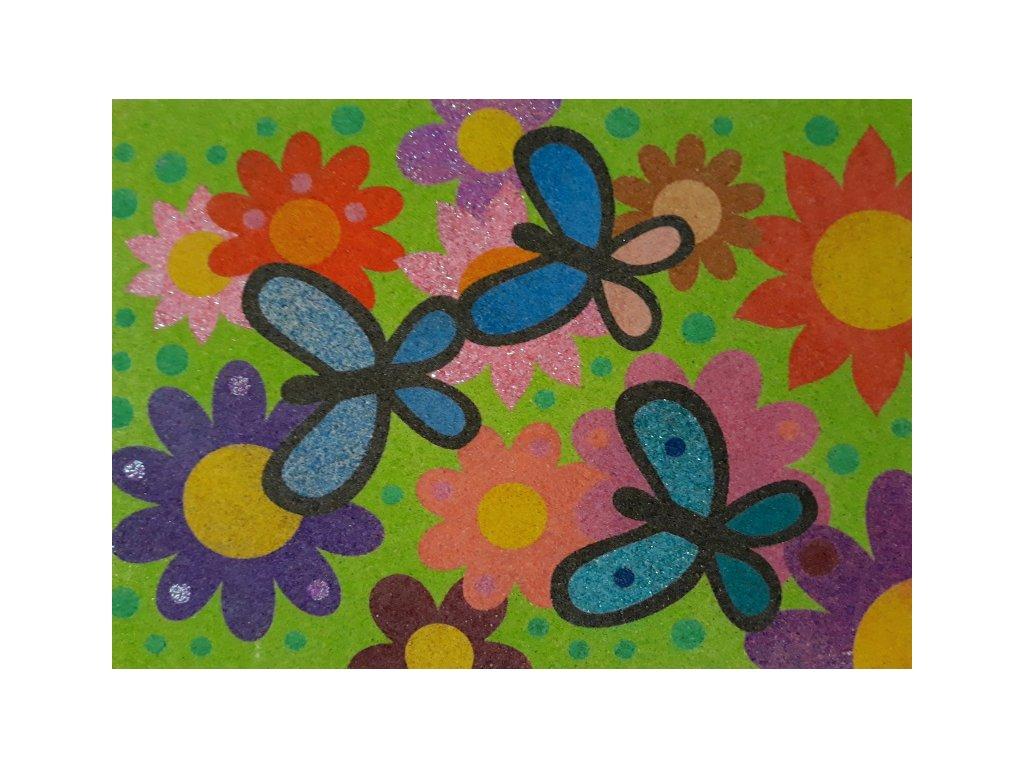 Šablona na pískování květy s motýlky (Varianta A5 (148 x 210 mm))