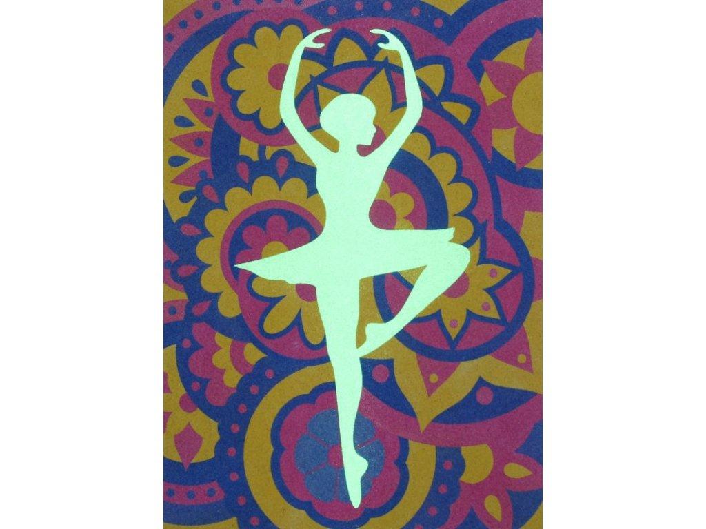 Šablona na pískování baletka v mandale (Varianta A4 (210 × 297 mm))