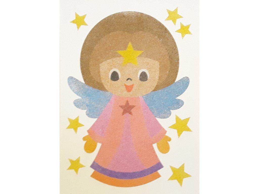 Šablona na pískování andělíček s hvězdou (Varianta A5 (148 x 210 mm))