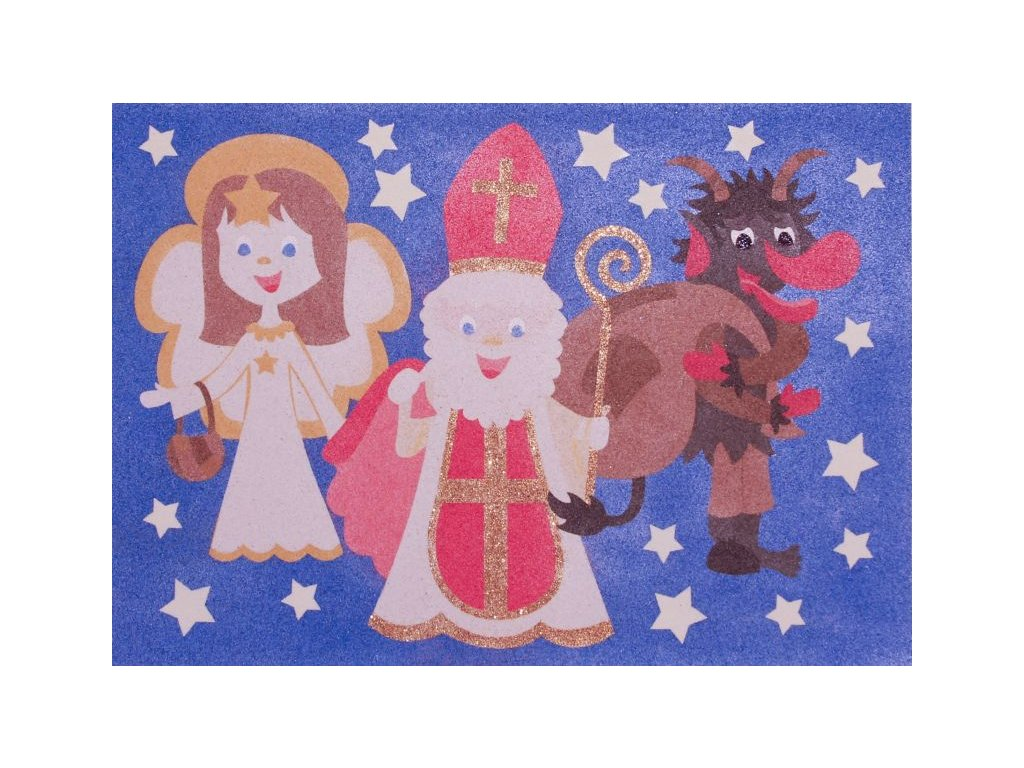 Šablona na pískování Mikuláš + čert + anděl (Varianta A4 (210 × 297 mm))