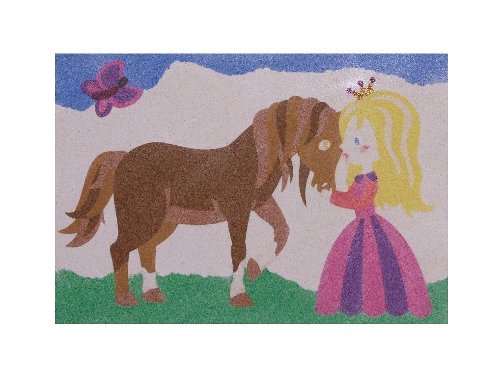 Šablona na pískování koník s princeznou (Varianta A5 (148 x 210 mm))