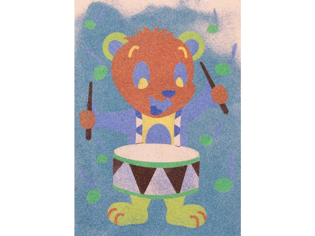 Šablona na pískování méďa muzikant (Varianta A5 (148 x 210 mm))
