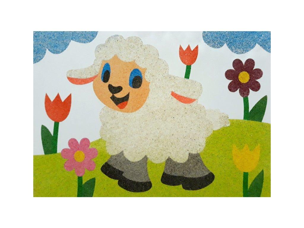 Šablona na pískování ovečka na louce (Varianta A5 (148 x 210 mm))