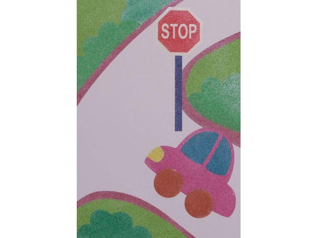 """Šablona na pískování dopravní situace """"STOP"""" (Velikost šablony A5 (148 x 210 mm))"""