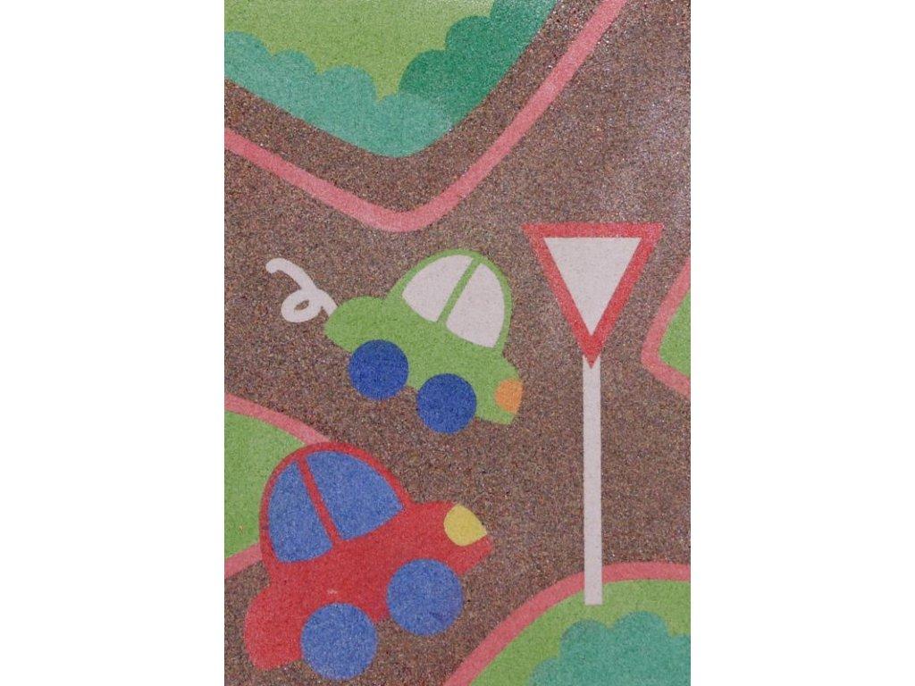 """Šablona na pískování dopravní situace """"DEJ PŘEDNOST V JÍZDĚ"""" (Velikost šablony A5 (148 x 210 mm))"""