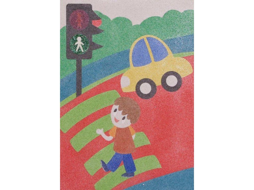 """Šablona na pískování dopravní situace """"přechod pro chodce"""" (Velikost šablony A5 (148 x 210 mm))"""