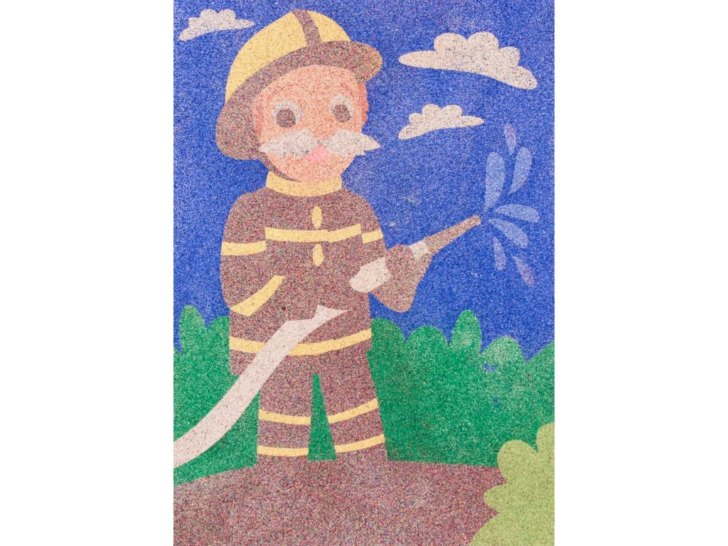 Šablona na pískování starý hasič (Varianta A5 (148 × 210 mm))