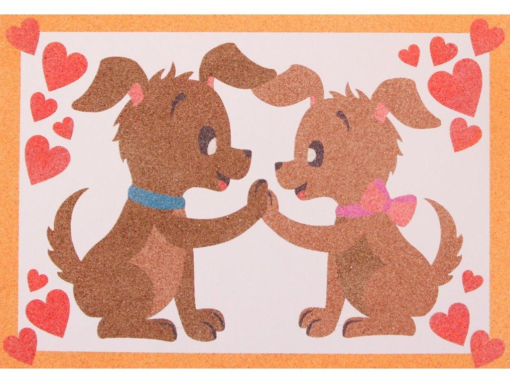 Šablona na pískování zamilovaní psi (Varianta A5 (148 x 210 mm))