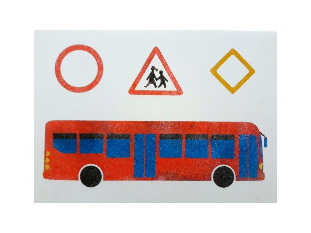 Šablona na pískování autobus+značky