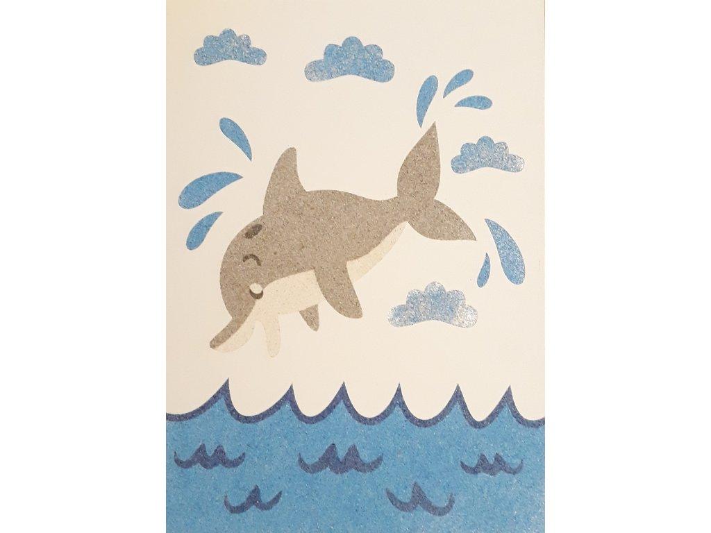 Šablona na pískování delfín v moři