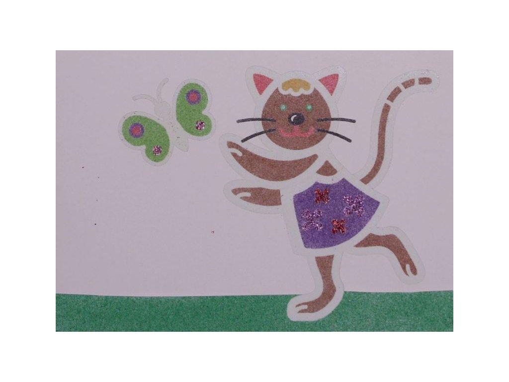 Šablona na pískování kočička s motýlkem