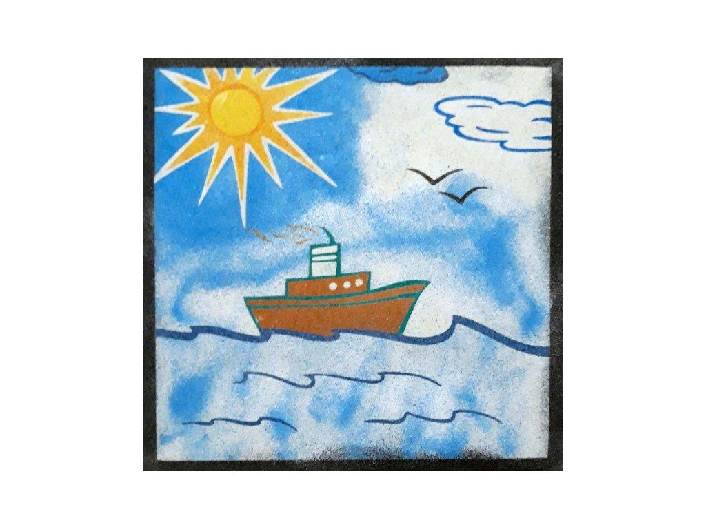 Šablona na pískování loď na moři