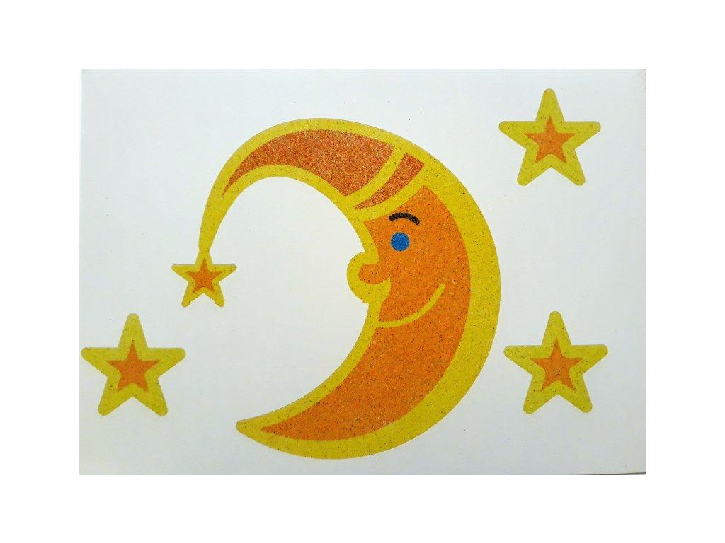 Šablona na pískování měsíček s hvězdičkami