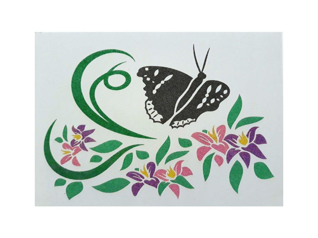 Šablona na pískování motýl na květech