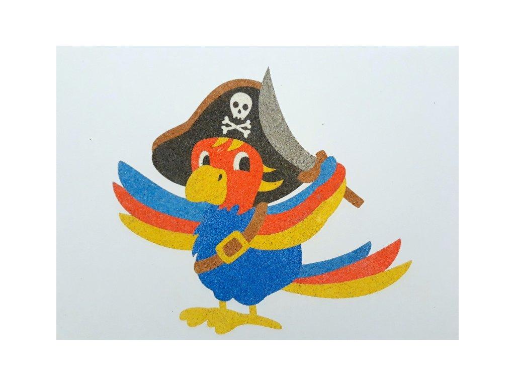 Šablona na pískování papoušek pirát