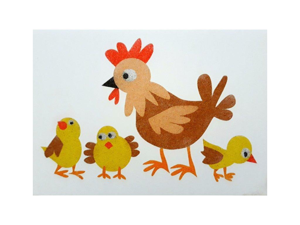 Šablona na pískování slepička+kuřátka