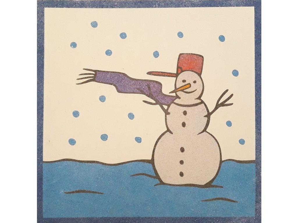 Šablona na pískování sněhulák v krajině