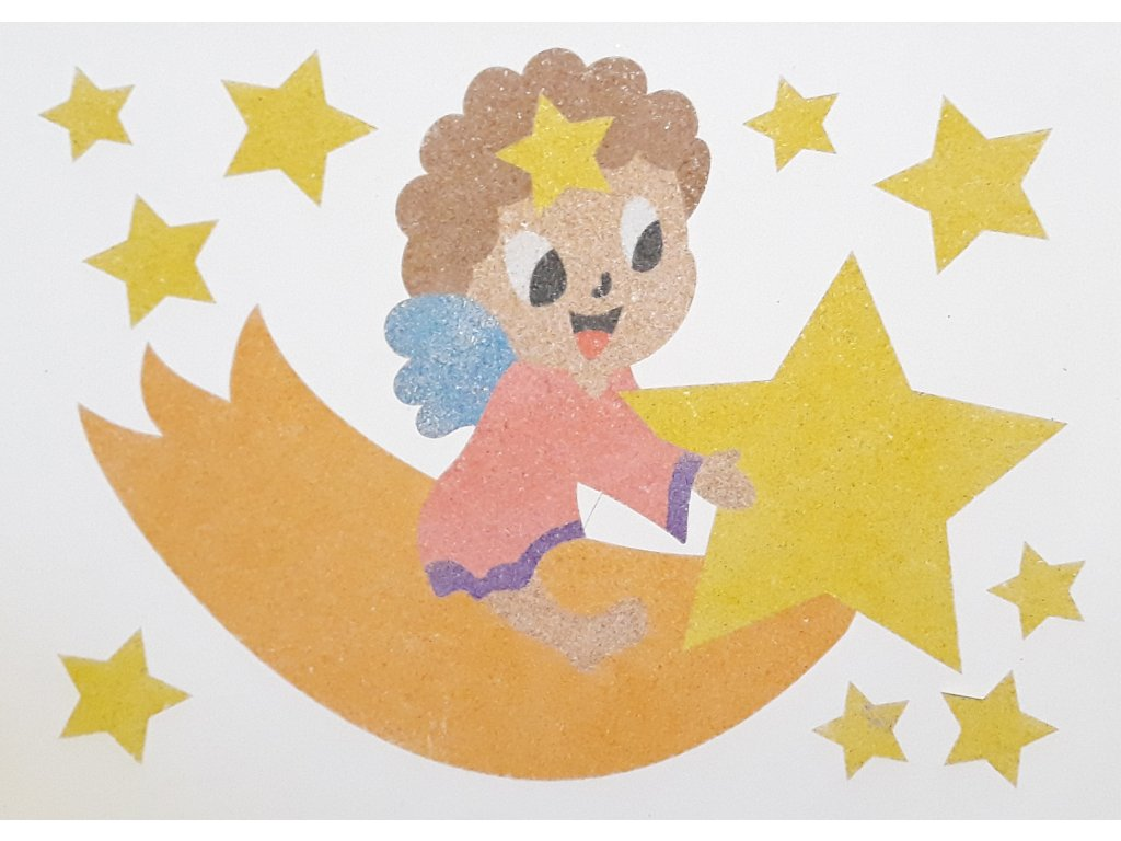 Šablona na pískování andělíček na kometě