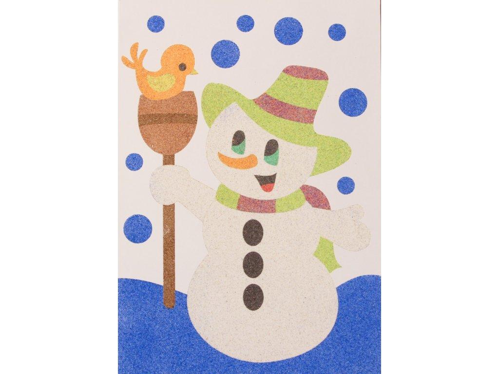 Šablona na pískování sněhulák s ptáčkem