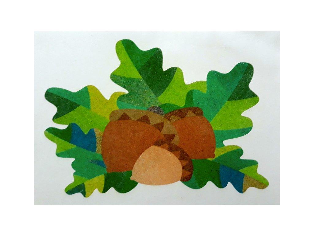 Šablona na pískování žaludy v listí