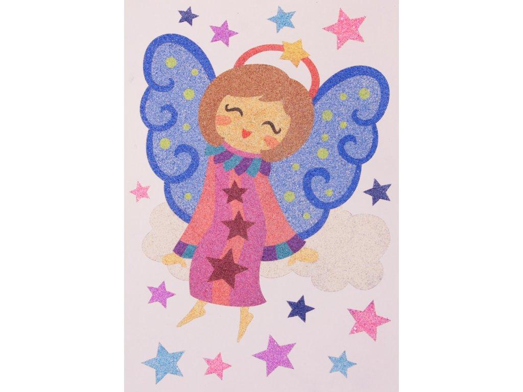Šablona na pískování andělíček na obláčku