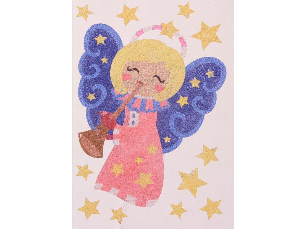 Šablona na pískování andělíček s trubkou