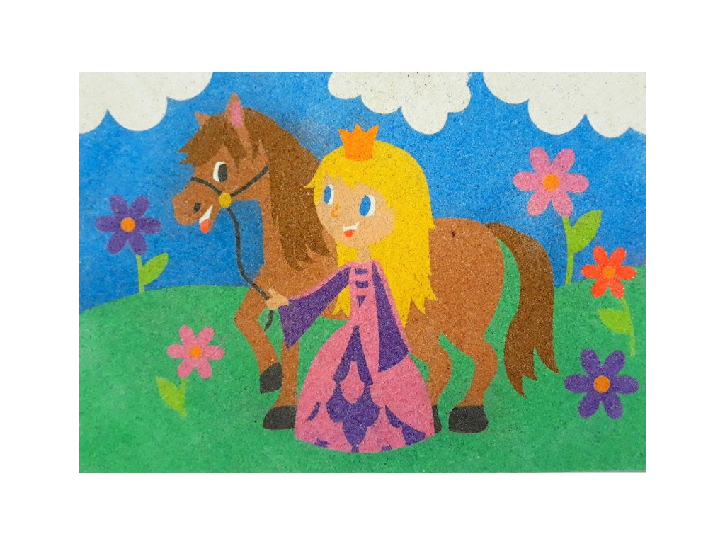 Šablona na pískování princezna s koníkem