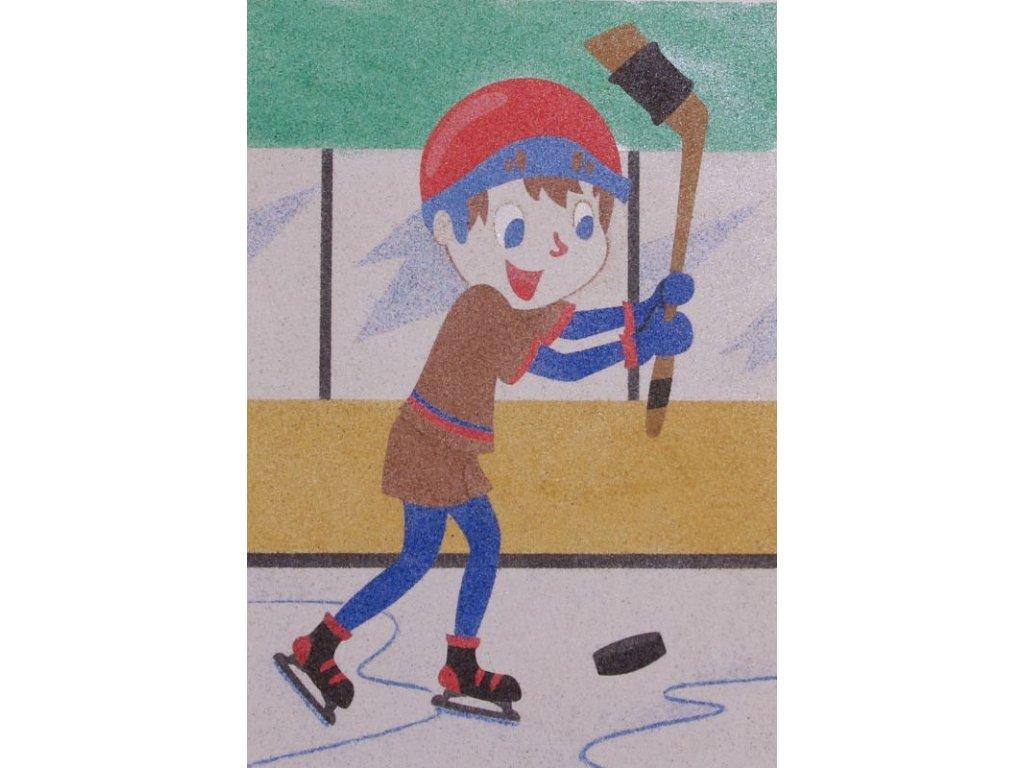 Šablona na pískování hokejista