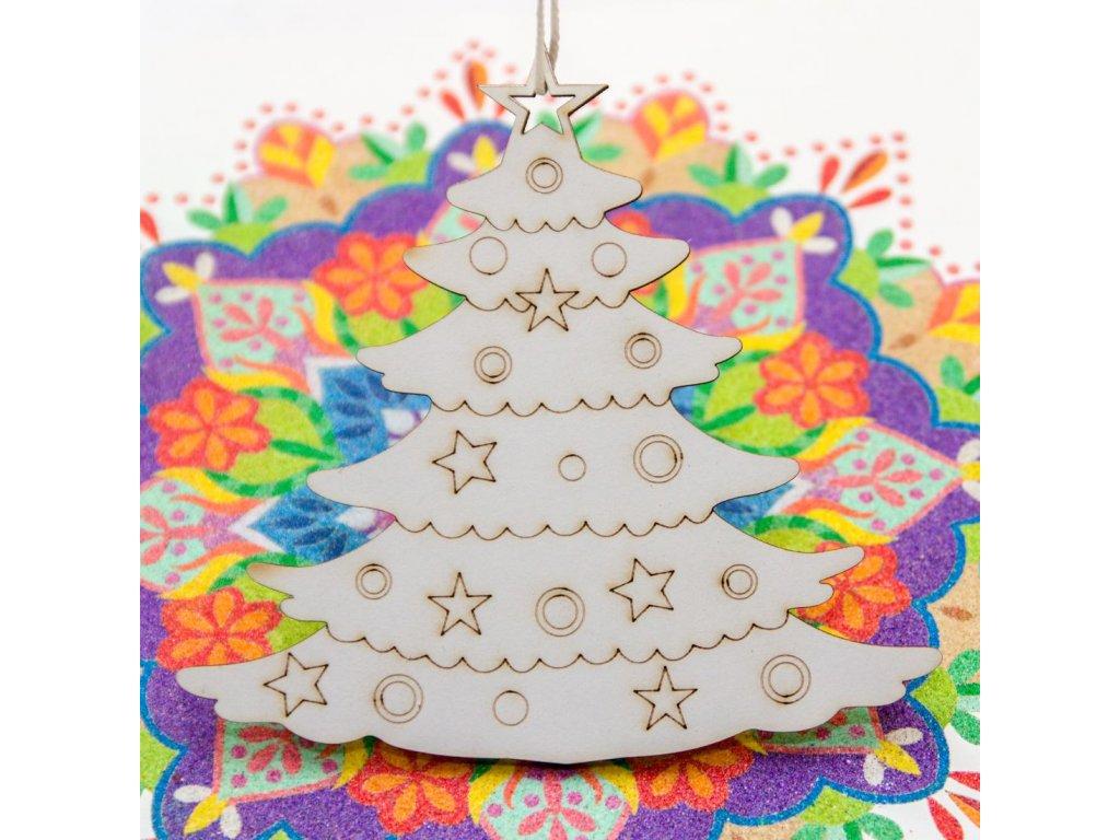 Vánoční stromeček - na dřevě