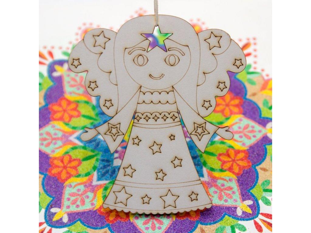 Andělíček mandalka - na dřevě