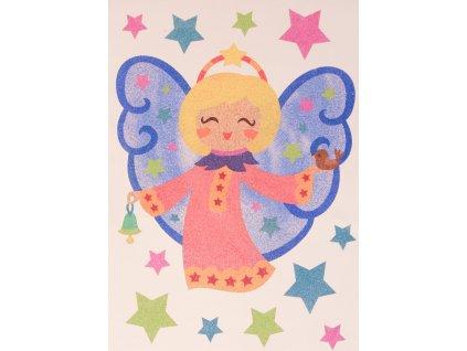Šablona na pískování andělíček se zvonečkem