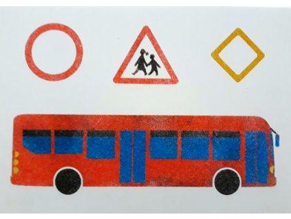 Šablona na pískování autobus+značky (Velikost šablony A5 (148 x 210 mm))