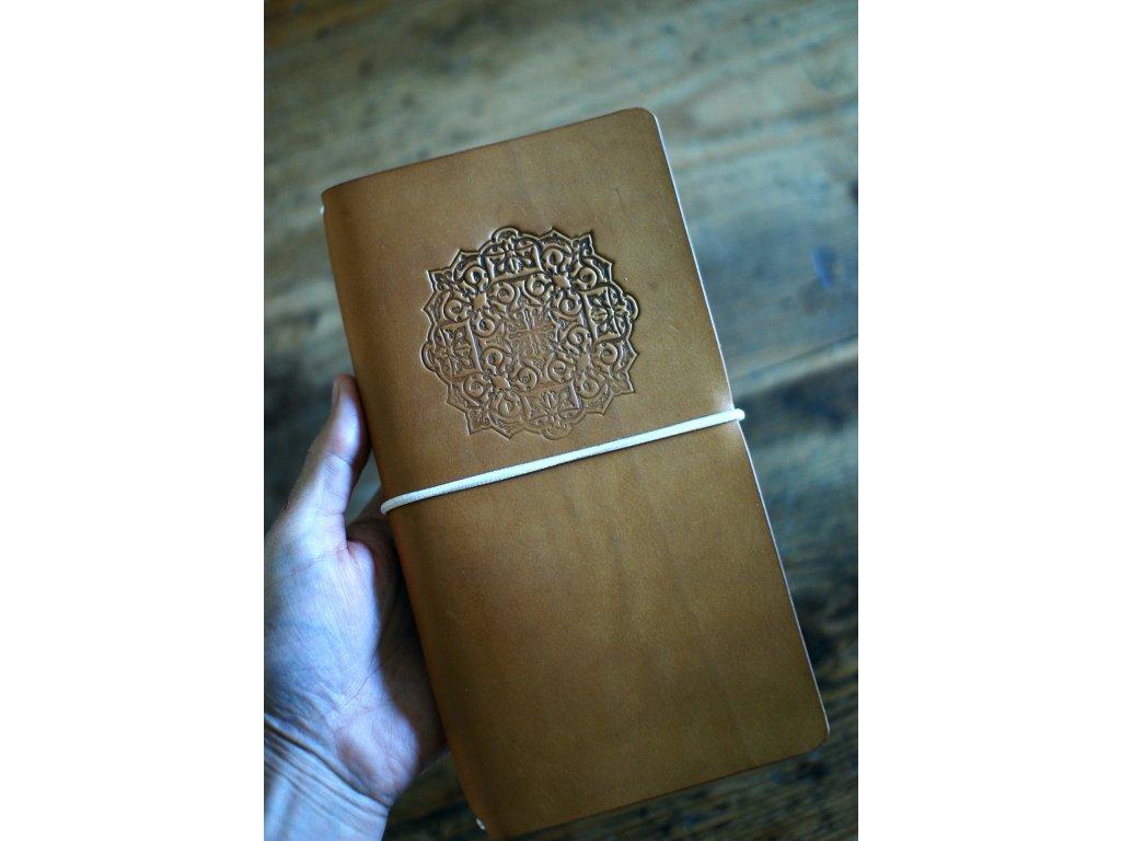 Kožený zápisník Midori s mandalou