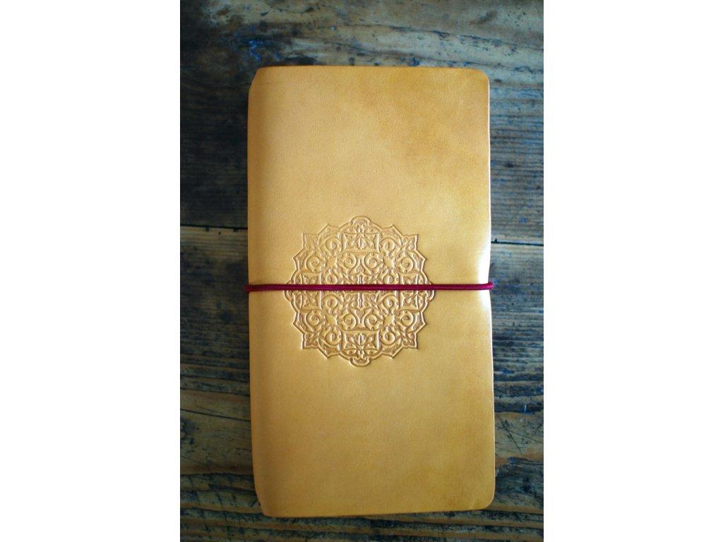 Kožený zápisník Midori - žlutý s mandalou
