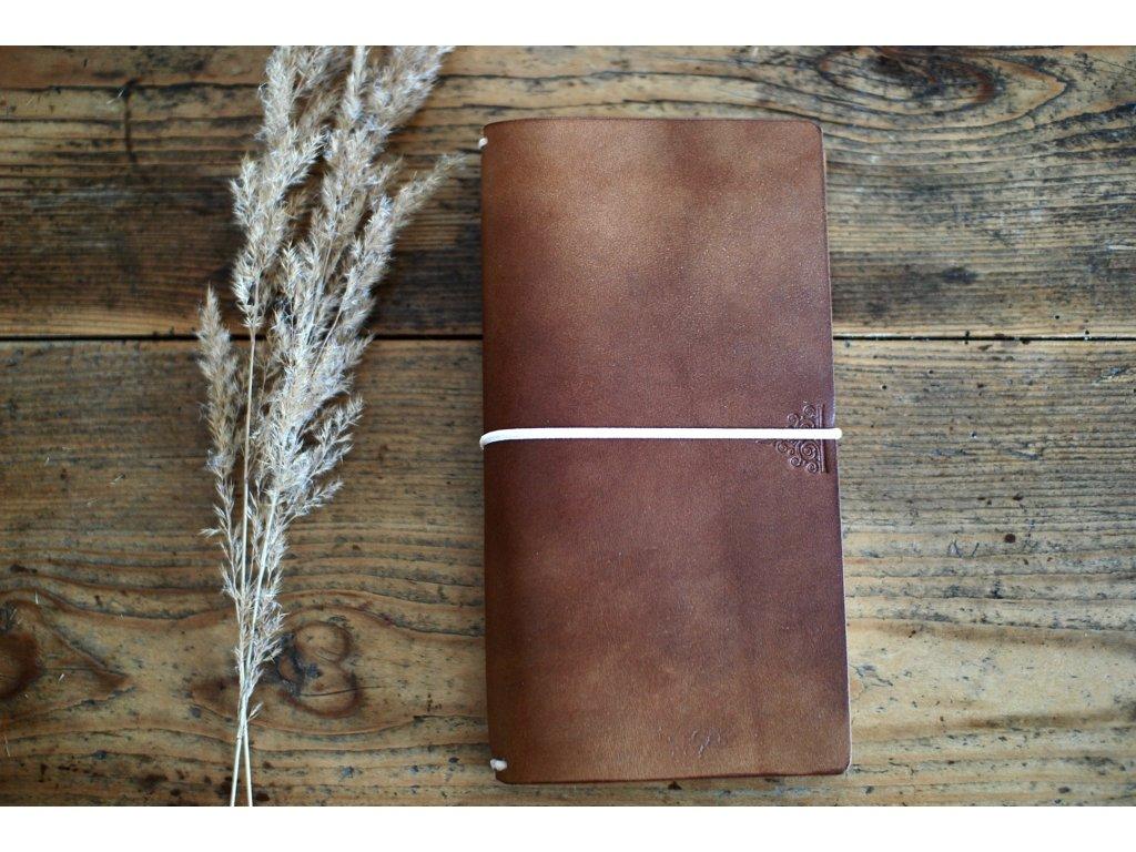 Kožený zápisník Midori -hořčicový