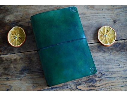 Kožený zápisník Zelený smaragd A5