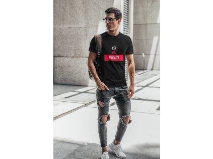 pánské tričko věř běž černá stojici