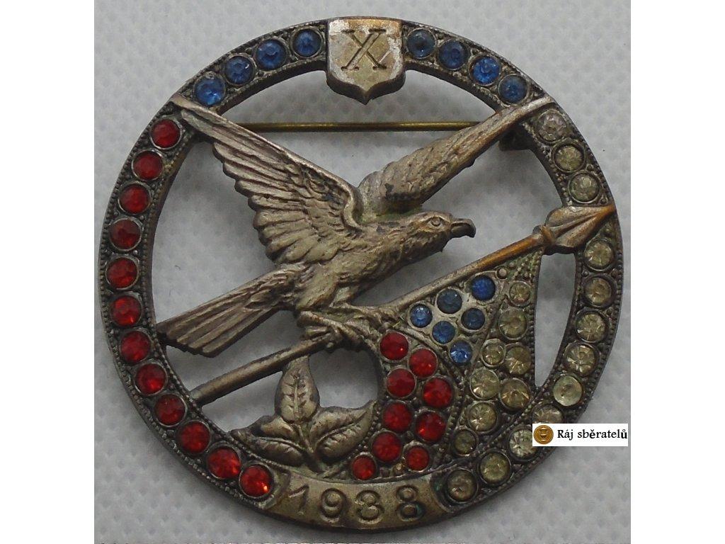 ODZNAK X. VŠESOKOLSKÝ SLET V PRAZE 1938 !!!