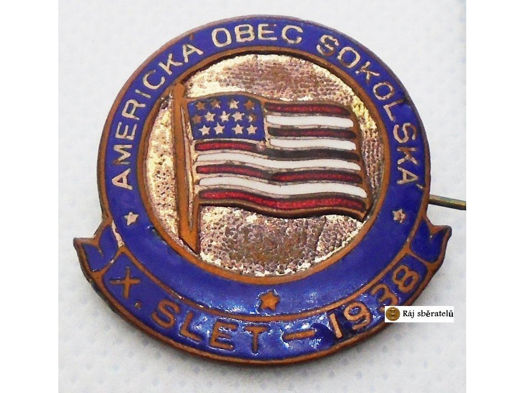 ODZNAK AMERICKÁ OBEC SOKOLSKÁ X. SLET 1938