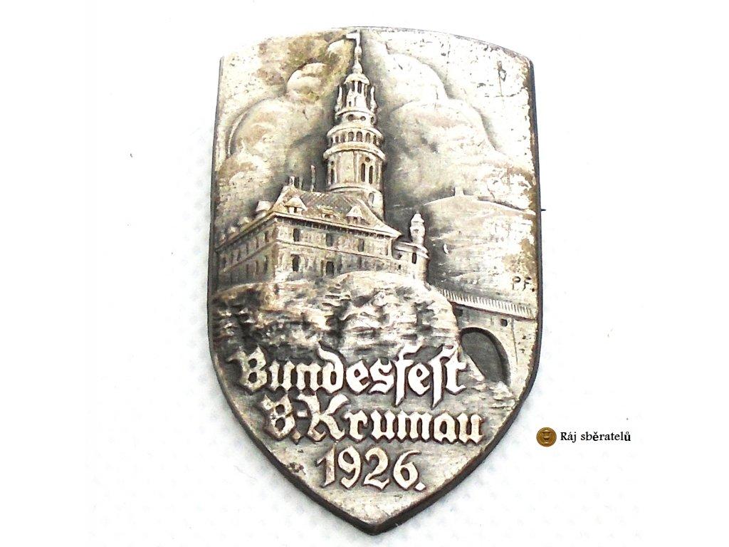 ODZNAK BUNDESFEST B. KRUMAU 1926 - KRUMLOV