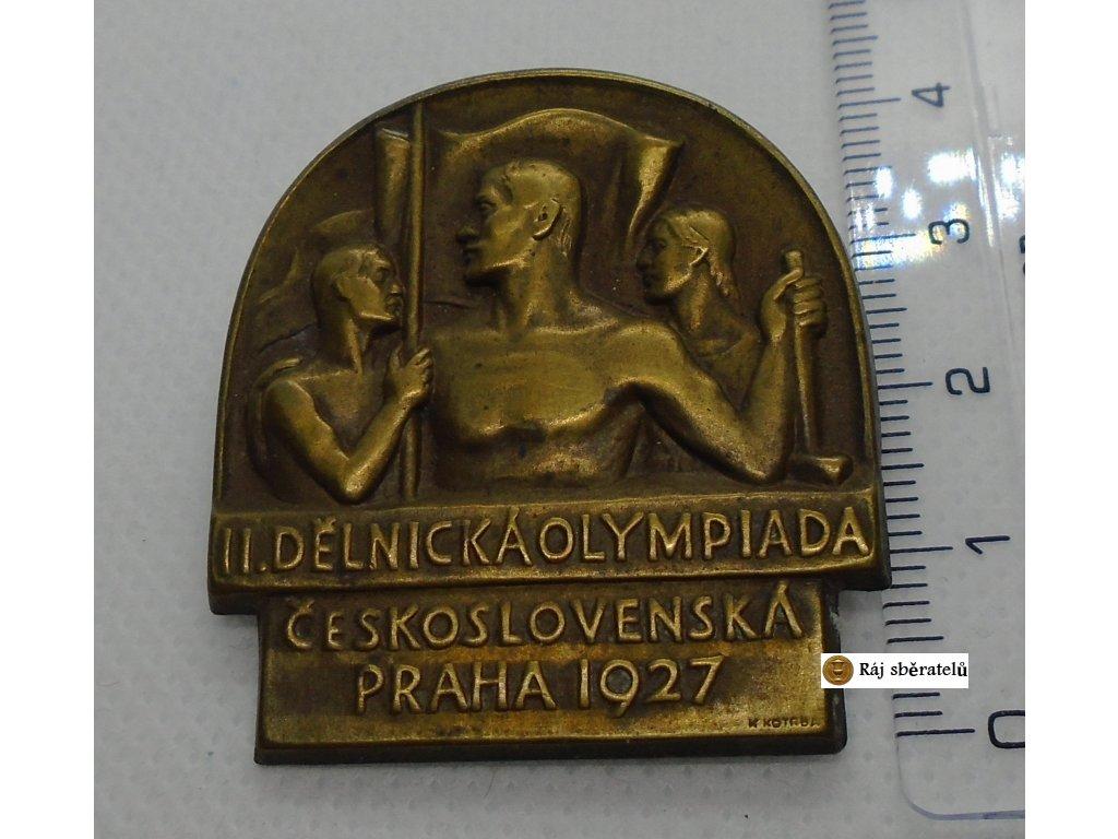ODZNAK II. DĚLNICKÁ OLYMPIÁDA PRAHA 1927