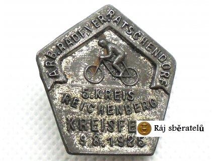 ODZNAK ARB. RADF. VER. RATSCHENDORF 5. KREIS REICHENBERG KREISFEST 1925 - LIBEREC, R