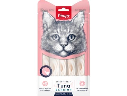 Wanpy Cat Creamy Lickable Treats - Tuna & Shrimp 5 x 14 g