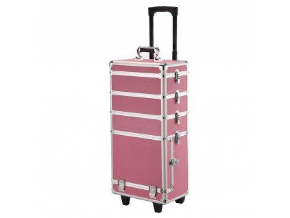 Velký kosmetický kufr 4v1 - růžový