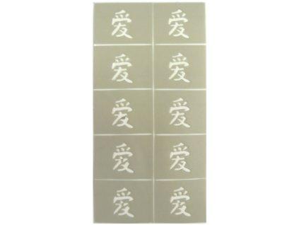 Dekoračné šablóny na nechty - čínsky znak - láska