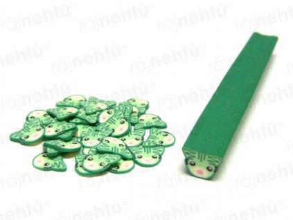 FIMO zdobenie - tyčinka, motív mačka - zelená