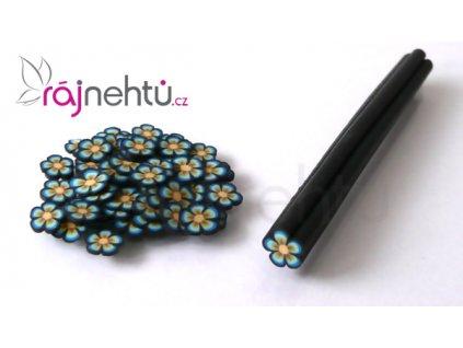 FIMO zdobenie - tyčinka, motív kvietok - čierna