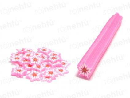 FIMO zdobenie - tyčinka, motív kvietok hviezdice - svetlo ružová