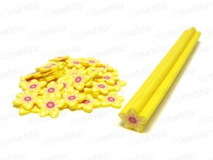 FIMO zdobenie - tyčinka, motív kvietok hviezdica - žltá