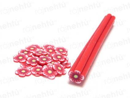 FIMO zdobenie - tyčinka, motív kvietok guľatý - červená